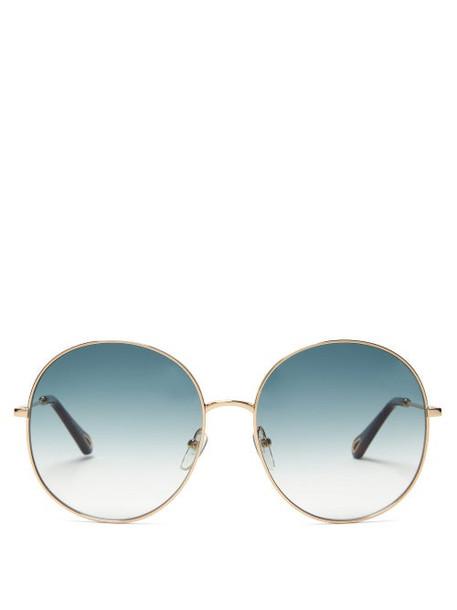 Chloé Chloé - Round Metal Sunglasses - Womens - Blue Gold