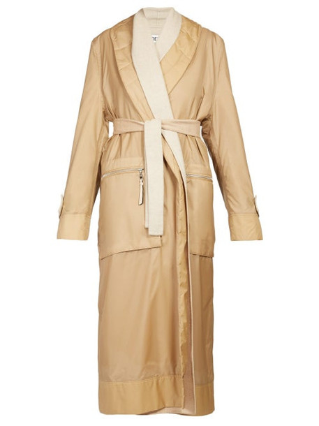 Loewe - Layered Nylon And Wool Coat - Womens - Camel