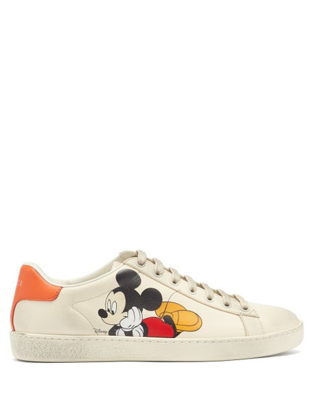 Gucci - X Disney Ace Mickey Mouse Leather Trainers - Womens - White Multi