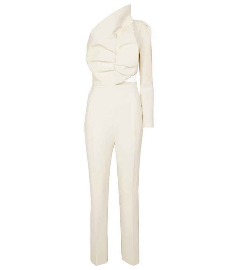 Roland Mouret Frenso one-shoulder wool jumpsuit in white