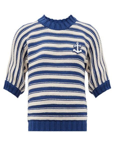 Gucci - Logo-appliqué Striped Cotton-blend Sweater - Womens - Blue White