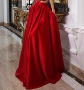 skirt,red skirt,long,satin