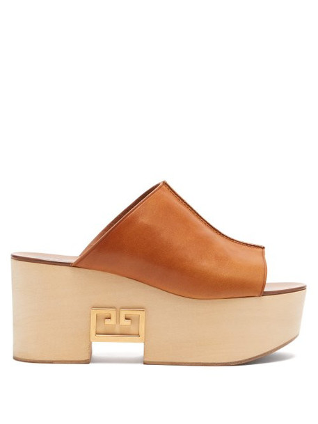 Givenchy - Logo Plaque Platform Leather Mules - Womens - Tan
