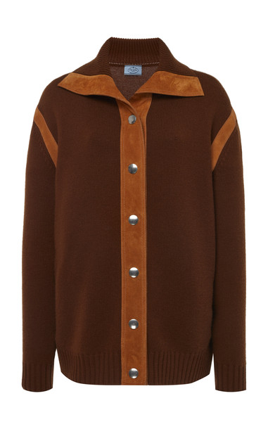 Prada Cashmere Button Down Top in brown
