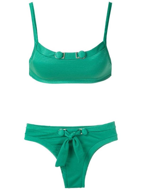 Amir Slama front tie detail bikini set in green