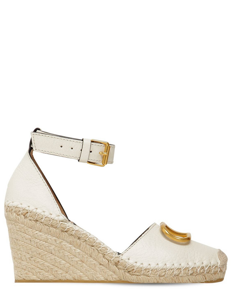 VALENTINO 85mm Vlogo Leather Espadrilles in ivory