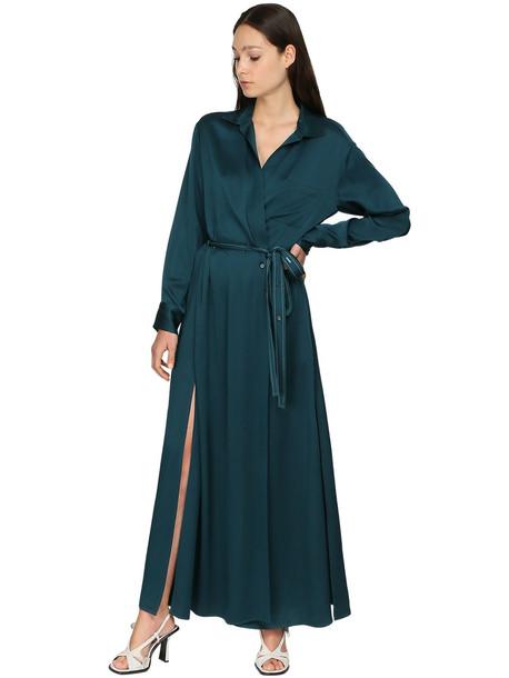 SIES MARJAN Satin Crepe Envers Wrap Shirt Dress in blue
