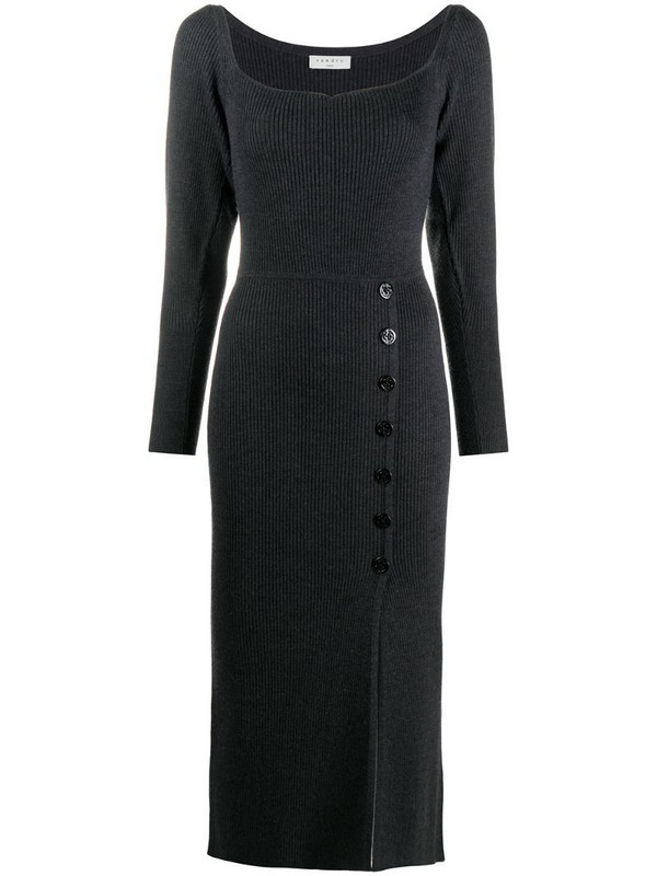 Sandro Paris buttoned ribbed knit dress in grey