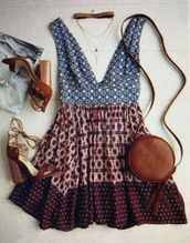 dress,boho dress,print dress,v neck dress
