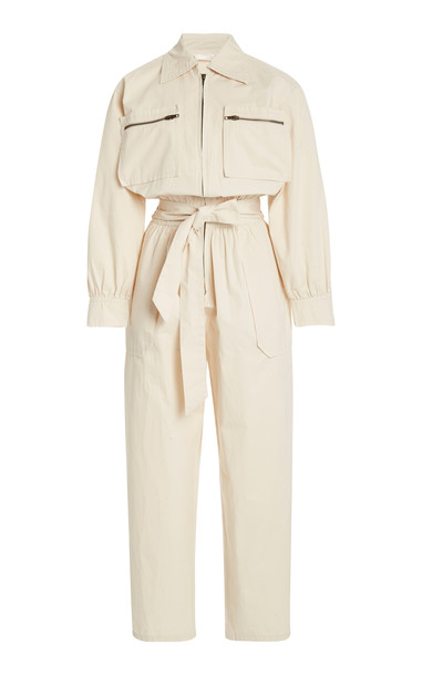 Posse Belted Cropped Cotton-Twill Jumpsuit in neutral