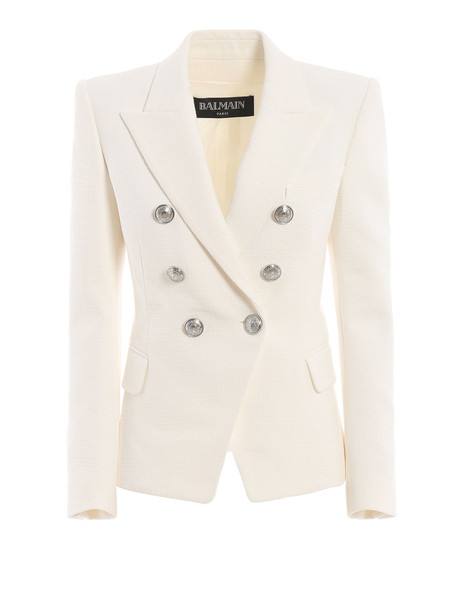 Balmain Cotton Natte Double-breasted White Blazer Rf17202c0320fa