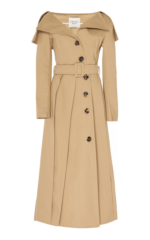 A.W.A.K.E. MODE Off-The-Shoulder Cotton Trench Size: 34 in neutral
