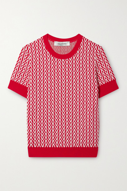 Valentino - Jacquard-knit Wool And Cotton-blend Sweater - Red