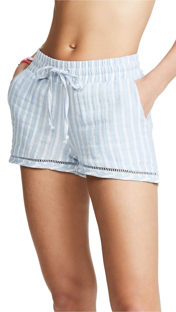 Plush Striped Linen Shorts in blue