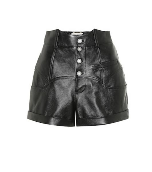 Saint Laurent High-rise leather shorts in black