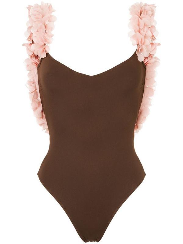 La Reveche Amira ruffle-trimmed swimsuit in brown