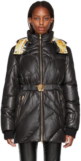 Versace Black Down Medusa Belted Jacket
