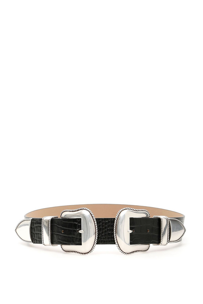 B-Low the Belt Rouge Croco Belt With Double Buckle in black / silver