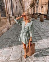 shoes,slide shoes,mini dress,long sleeve dress,v neck dress,shoulder bag