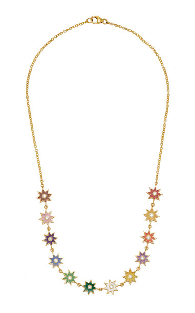 Colette Jewelry Twinkle Star 18K Gold Enamel and Diamond Necklace in multi