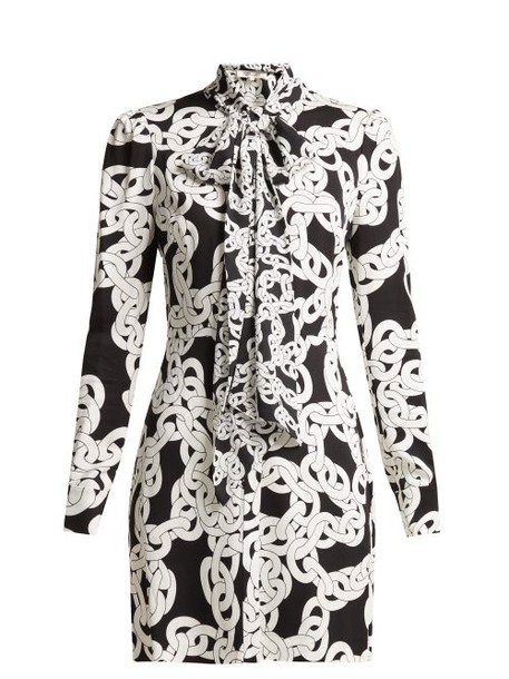 Diane Von Furstenberg - Franca Crawling Chain Print Crepe Dress - Womens - Black White