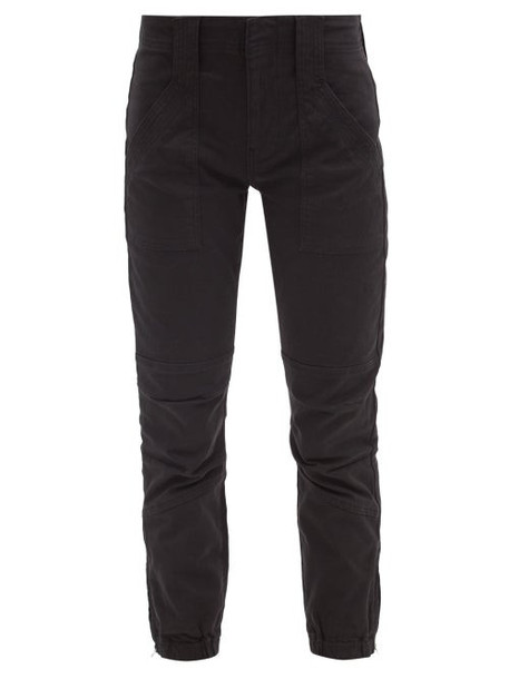 Frame - Trapunto Zip-cuff Cotton-blend Trousers - Womens - Black