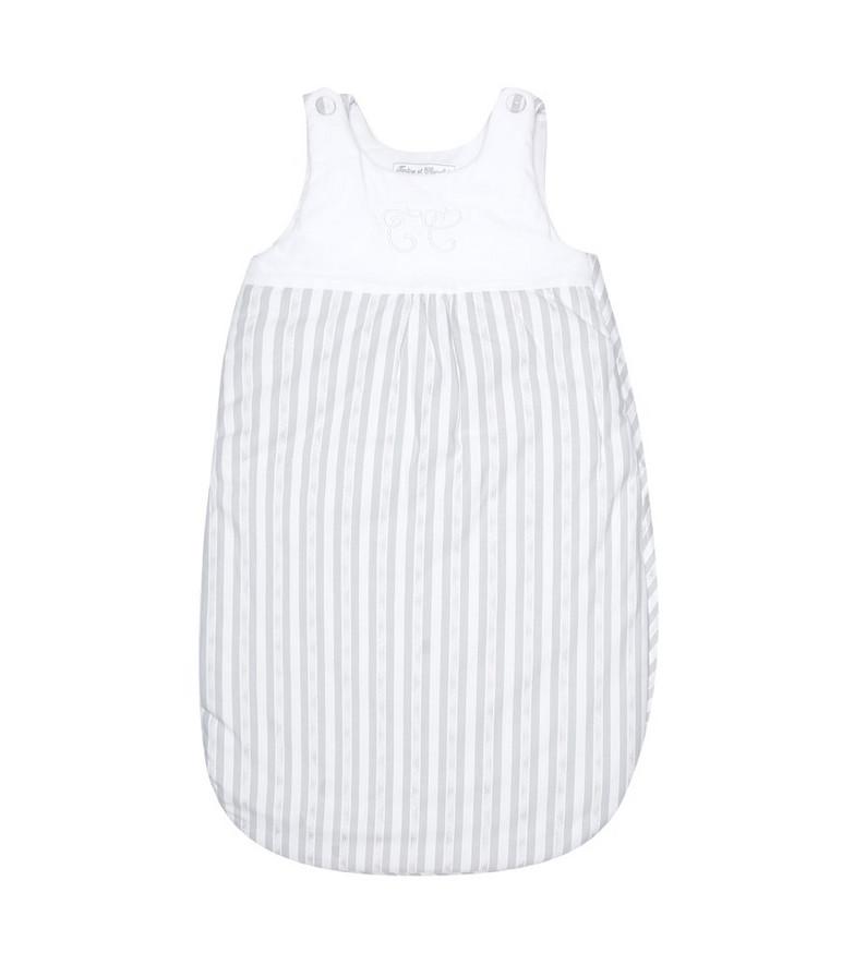 Tartine et Chocolat Baby striped cotton bunting bag in white