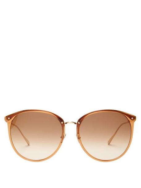 Linda Farrow - Round Acetate Sunglasses - Womens - Brown
