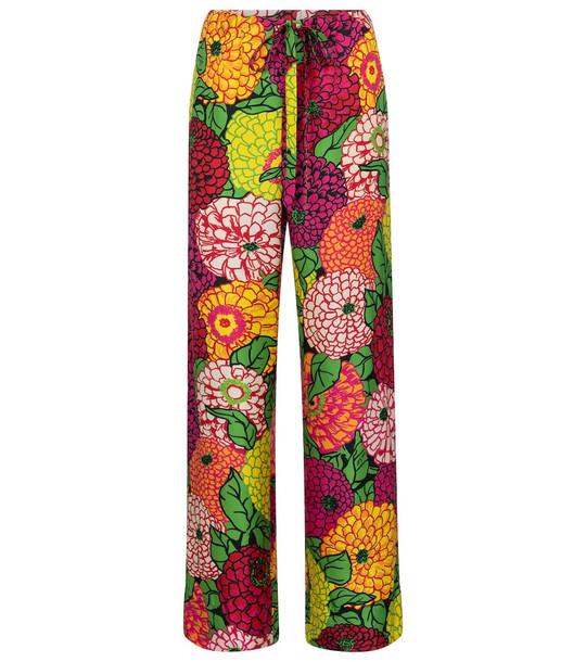 Gucci x Ken Scott floral silk straight pants in pink