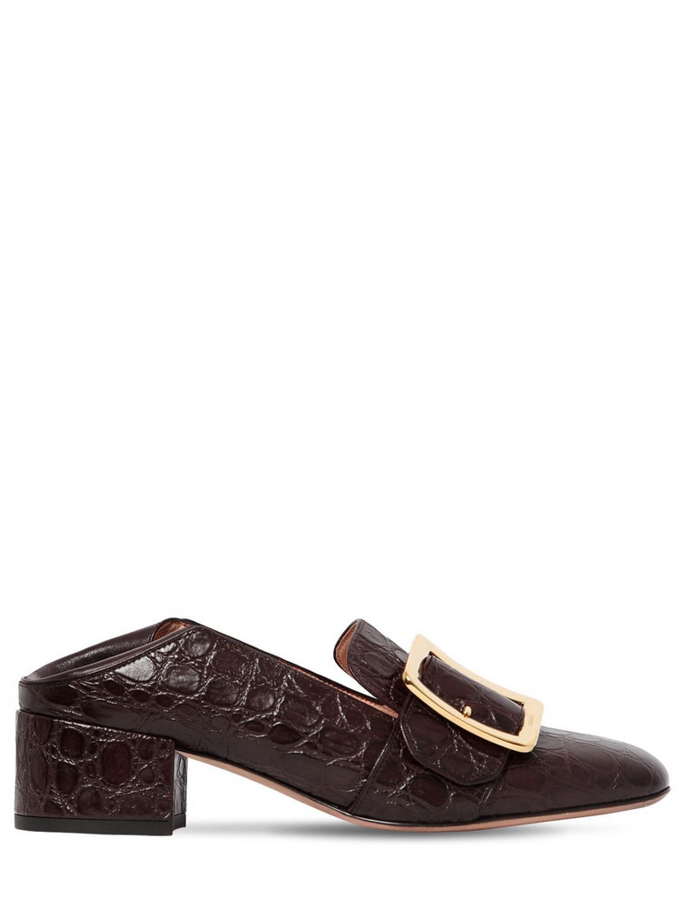BALLY 40mm Janelle Embossed Leather Pumps in brown