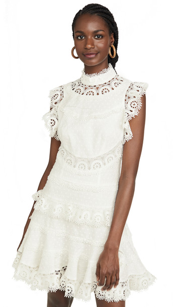 Zimmermann Peggy Embroidered Trim Short Dress in ivory