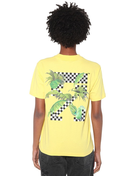 OFF-WHITE Printed Cotton Jersey T-shirt in yellow