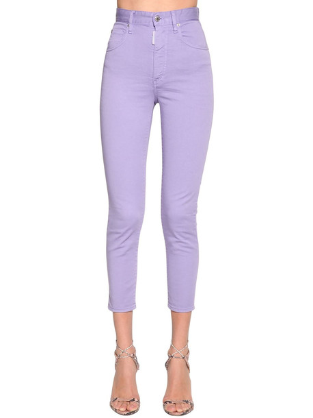 DSQUARED2 Twiggy Cropped Denim Jeans in lilac