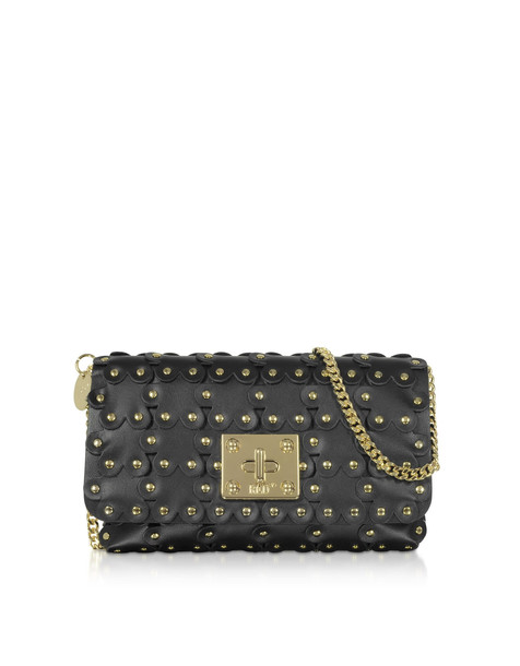 Red Valentino Flower Puzzle Genuine Leather Clutch in black