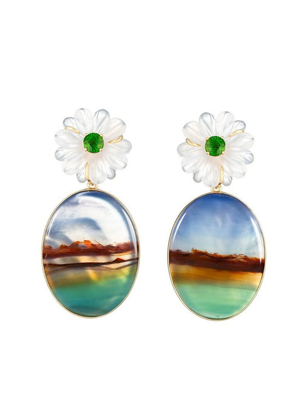 GUITA M 18kt yellow gold, quartz and stripe agate flower earrings in blue