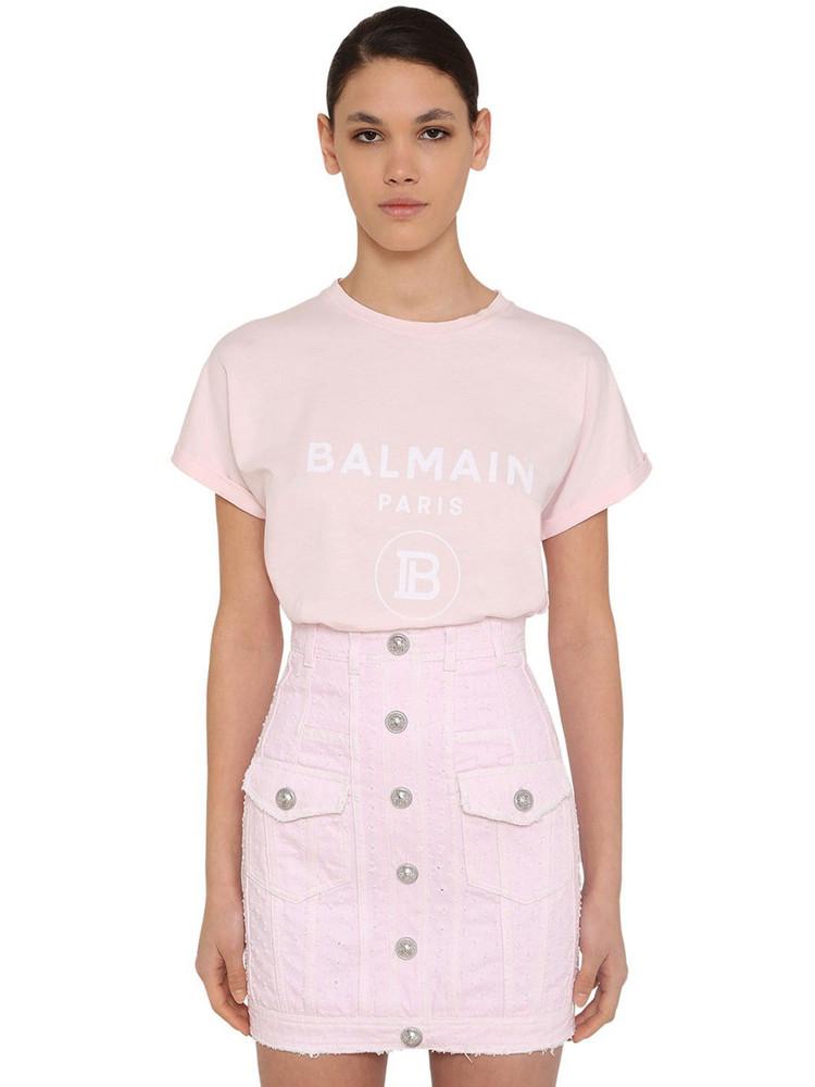 BALMAIN Flocked Logo Cotton Jersey T-shirt in pink