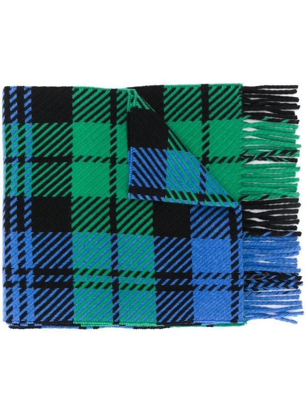 Mackintosh fringed tartan scarf in blue