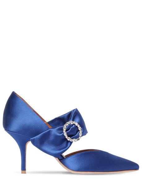 MALONE SOULIERS 70mm Maite Swarovski Satin Pumps in blue