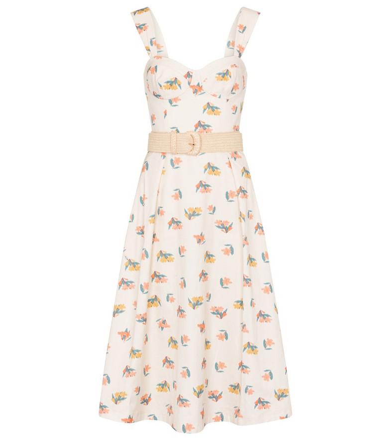 Rebecca Vallance Hadi floral cotton midi dress in white