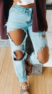 jeans,light blue,ripped jeans,mom jeans,boyfriend jeans,light blue with lots of holes
