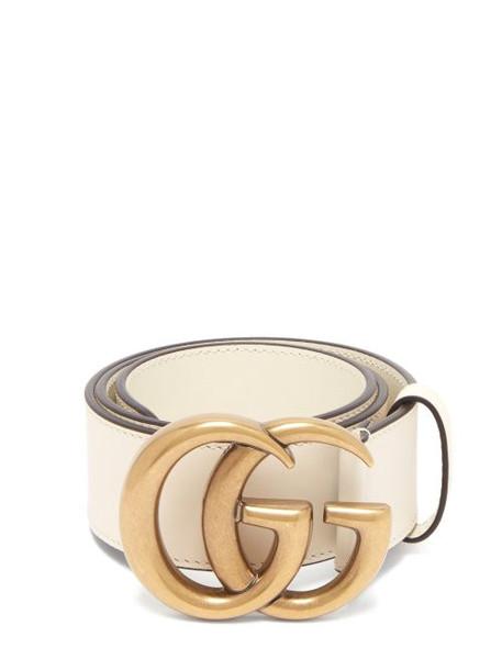 Gucci - Gg Logo Leather Belt - Womens - White