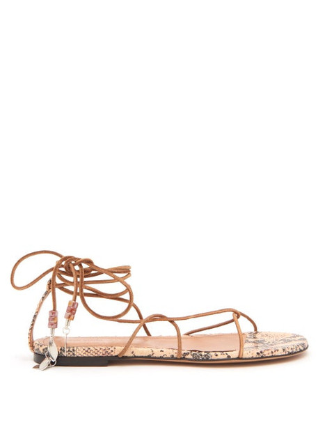 Isabel Marant - Jindia Bead-embellished Rope And Leather Sandals - Womens - Tan