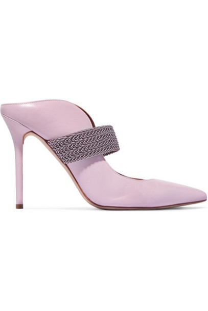Malone Souliers - Mara 100 Cord-trimmed Leather Mules - Baby pink