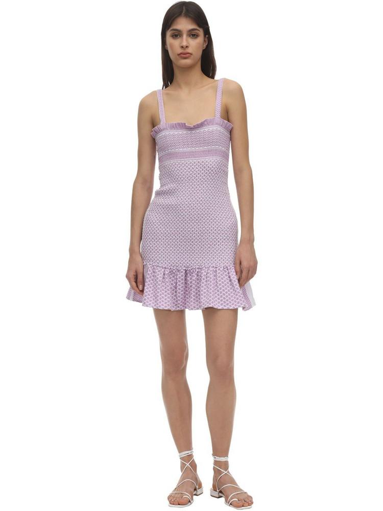 CECILIE COPENHAGEN Judith Smocked Cotton Mini Dress in lilac