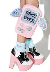 bag,kawaii,nerd,pastel,pastel goth,holographic,irredescent,kawaii grunge,kawaii bag,pastel bag,wings,angel wings,angel,game over,video game,gamer,retro
