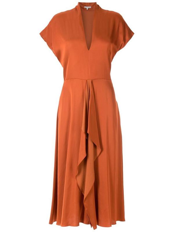 Alcaçuz Clarice flutter-detail dress in orange