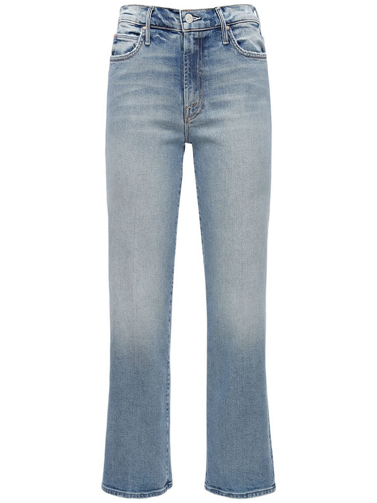 MOTHER The Kick It Cropped Cotton Denim Jeans in blue