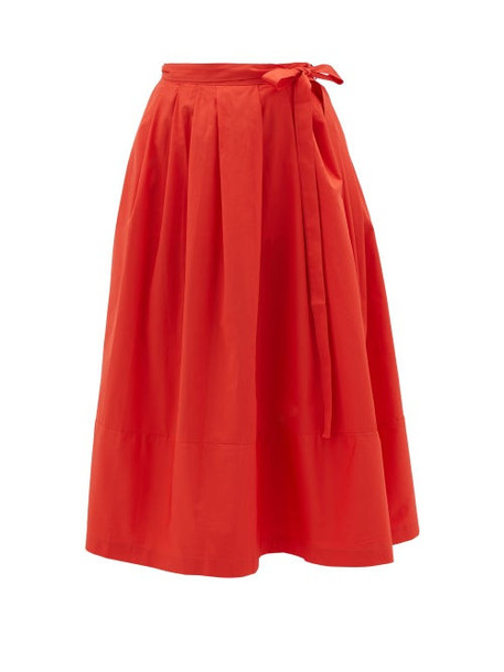 Thierry Colson - Java Pleated Cotton Wrap Skirt - Womens - Red