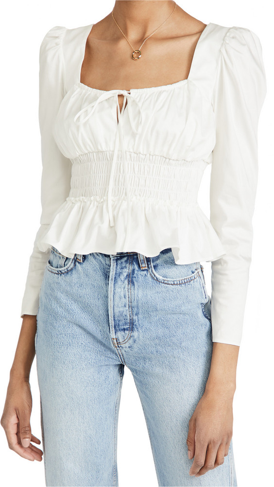 WAYF Edith Smocked Waist Bustier Top in ivory