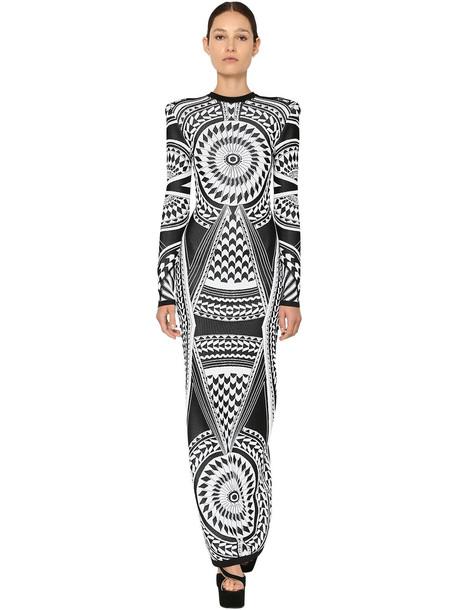 BALMAIN Knit Jacquard Fitted Long Dress in black / white